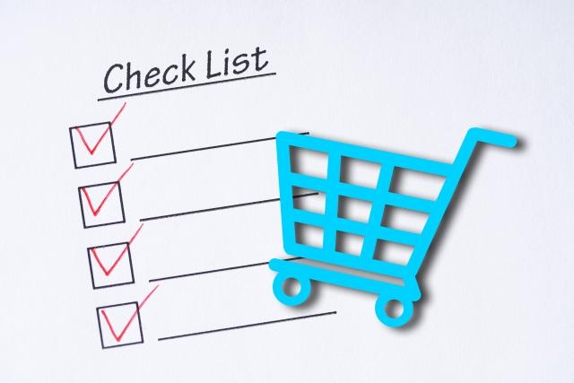 買い物カートとチェックリスト